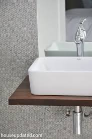 Bathroom Sink Shelves Floating Walnut Floating Shelf Sink Vanity With Vessel Sink Modern P Trap