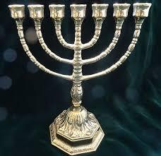 candeliere ebraico ebraico 7 bracci supporto candela 100 in ottone candelabro