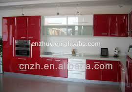 Uv Kitchen Cabinet Pvc Cabinets Mdf Kitchen Cabinets Uv - Red lacquer kitchen cabinets