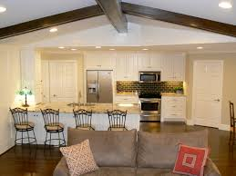 open concept family room design with modern kitchen combo using