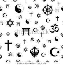 religious signs symbols illustration on white stock vector