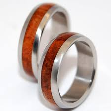 wooden wedding bands hardwood inlay titanium wedding rings minter and richter designs