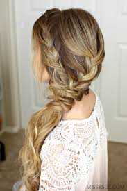 hairstyle with 2 shoulder braids braided side swept prom hairstyle missy sue