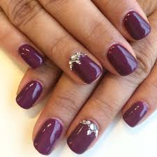 bio sculpture gel 86 dark plum with a feature nail design using