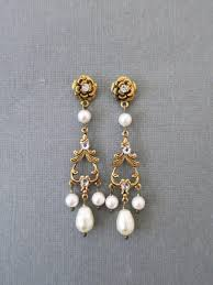 pearl chandelier gold bridal earrings pearl chandelier earrings wedding jewelry for