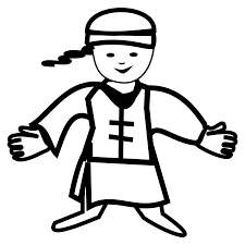 chinese boy icon black white line chinese new year year of the