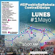 Map Of Venezuela Plan Of Protests On 1 May In Caracas Venezuela Liveuamap Com
