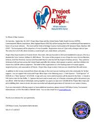 Charity Golf Tournament Welcome Letter events project new hope