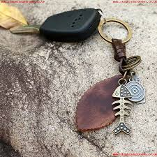vintage fish ring holder images Fishbone leather lover keychain keyring vintage cool car key jpg