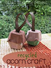 recycled egg carton acorn ornaments still playing