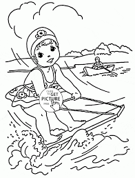little rides on a water board coloring page for kids seasons