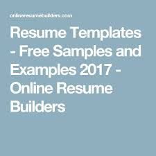 Online Resume Template by The 25 Best Free Online Resume Builder Ideas On Pinterest