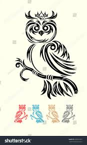owl owl tribal tattoo design good stock vector 200252357