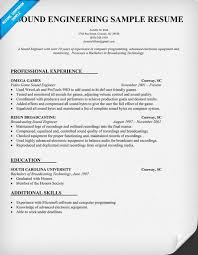 Printable Sample Resume by Download Audio Recording Engineer Sample Resume