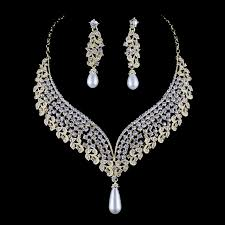 wedding necklace bridal images India pearl style bridal wedding necklace earrings set crystal jpg