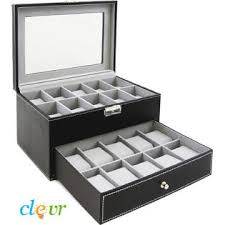 jewelry box 20 clevr box large 20 mens black leather display glass top