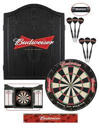 black dart board cabinet budweiser black bowtie dartboard package