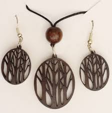 women necklace accessories images Pendant necklace with drop earrings dark brown hand crafted in jpg