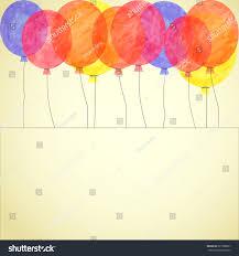 Invitation Card Background Vector Watercolor Colorful Balloon Invitation Card Stock Vector