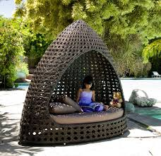 Outdoor Wicker Daybed Rattan Daybed Bronze Weatherproof Wicker Daybed Hut With Canopy