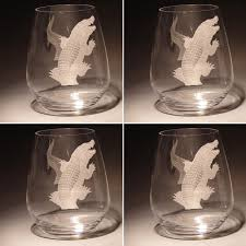 alligator stemless wine glass set of four evergreen crystal