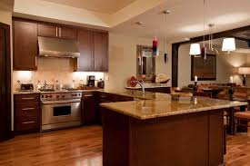 Kitchen Floor Ideas With Dark Cabinets Hickory Flooring In Kitchen Three Bedroom Residence Lumiere
