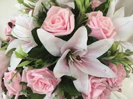 pink lillies white pink centred lilies baby pink glitter roses groovyruby ltd