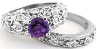 amethyst diamond rings images Ornate amethyst diamond engagement set in 14k white gold gr 2035 jpg
