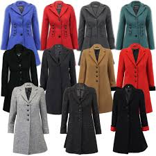la s coat womens jacket wool look military long button warm