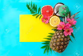 Beach Wedding Invitation Cards Tropical Fruits Background With Pineapple Beach Wedding