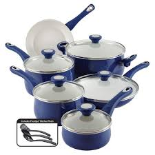 farberware new traditions 14 piece blue cookware set with lids