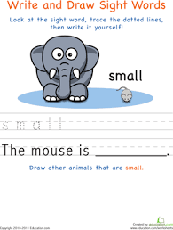 write and draw sight words kindergarten worksheets education com
