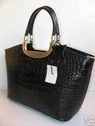 handtaschen design designer shopper leder tasche handtasche schwarz kroko