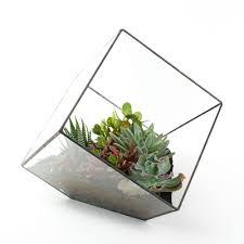 the rubix welded metal glass cube terrarium juicykits com