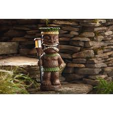 garden oasis tiki statue with solar light solar lawn ornaments