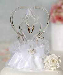 glass wedding cake toppers glass swan cake topper with heart wedding cake topppers