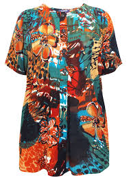 roaman u0027s roamans orange printed short sleeve button through