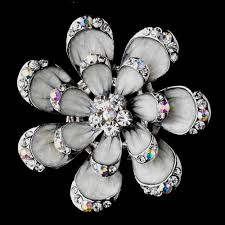 silver flowers brooch 162 silver grey wf wedding hair flowers