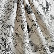 Black Drapery Fabric Upholstery Fabric Drapery Fabric French Script Fabric