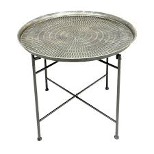 round silver accent table metal end table