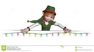 santa u0027s elf is hanging christmas lights royalty free stock images