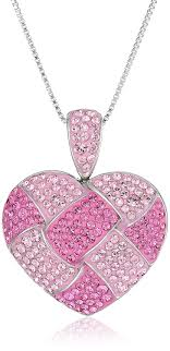 swarovski necklace pink images Sterling silver and pink quilted heart pendant jpg