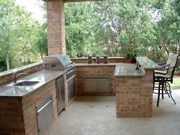 Outdoor Kitchen With Sink Captivating Brick Styled Backyard Bars Designs Completed With