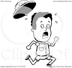 cartoon clipart of a black and white scared safari boy running