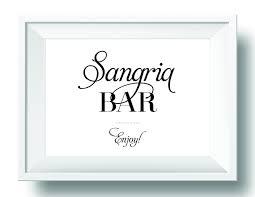 printable wedding bar sign sangria bar signature cocktail