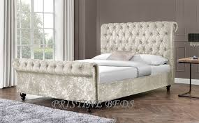Fabric Sleigh Bed Crushed Velvet Fabric Upholstered Chesterfield Sleigh Bed Frame