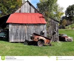 Barn Roof by Old Red Roof Barn With Old Car Stock Photo Image 45471776