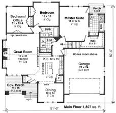 Floor 51 by Craftsman Style House Plan 3 Beds 2 00 Baths 1807 Sq Ft Plan 51 519