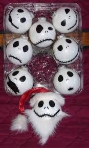 nightmare before ornaments made from ping pong balls