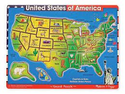 Kansas State Map Amazon Com Melissa U0026 Doug Usa Map Sound Puzzle Wooden Puzzle